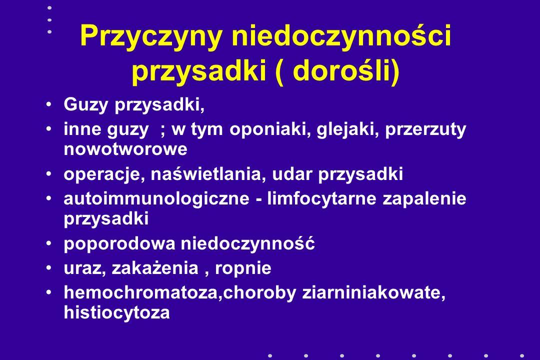 Przyczyny niedoczynności przysadki ( dorośli) Guzy przysadki, inne guzy ; w tym oponiaki, glejaki, przerzuty nowotworowe operacje, naświetlania, udar