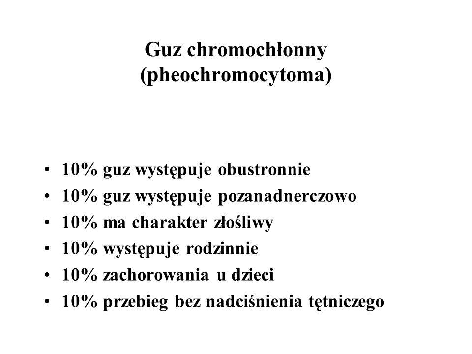 Guz chromochłonny (pheochromocytoma) 10% guz występuje obustronnie 10% guz występuje pozanadnerczowo 10% ma charakter złośliwy 10% występuje rodzinnie 10% zachorowania u dzieci 10% przebieg bez nadciśnienia tętniczego