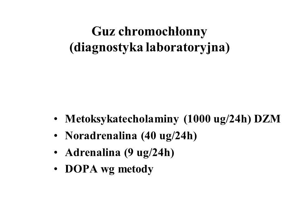 Guz chromochłonny (diagnostyka laboratoryjna) Metoksykatecholaminy (1000 ug/24h) DZM Noradrenalina (40 ug/24h) Adrenalina (9 ug/24h) DOPA wg metody