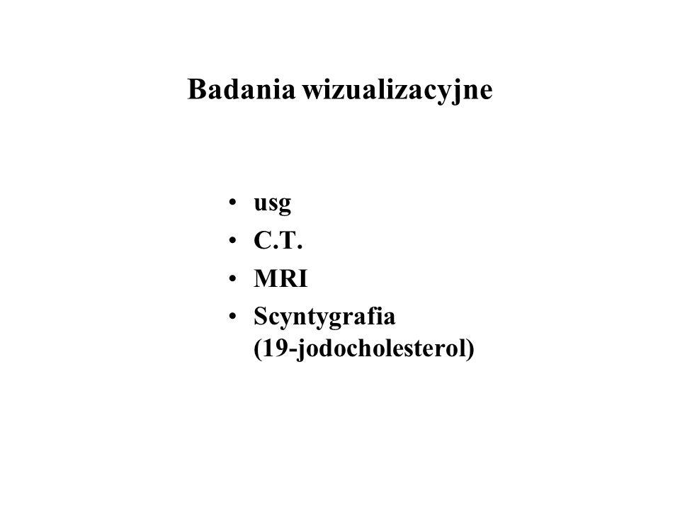 Badania wizualizacyjne usg C.T. MRI Scyntygrafia (19-jodocholesterol)