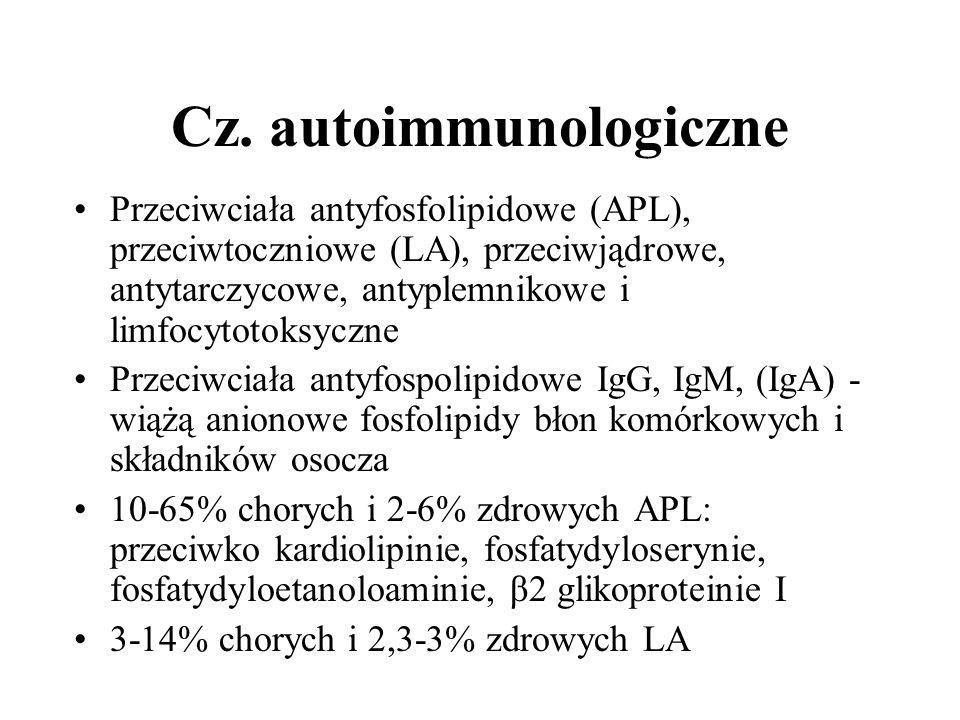 Cz. autoimmunologiczne Przeciwciała antyfosfolipidowe (APL), przeciwtoczniowe (LA), przeciwjądrowe, antytarczycowe, antyplemnikowe i limfocytotoksyczn