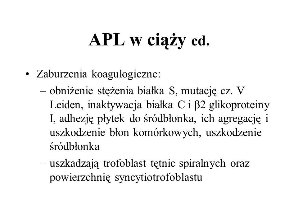 APL w ciąży cd. Zaburzenia koagulogiczne: –obniżenie stężenia białka S, mutację cz.