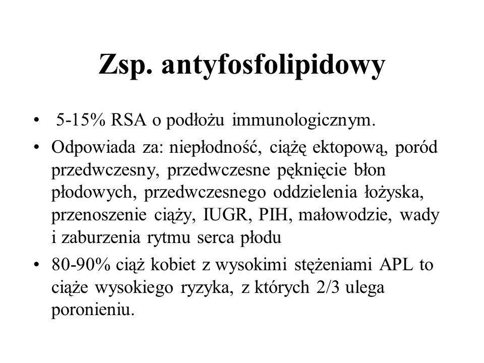 Zsp. antyfosfolipidowy 5-15% RSA o podłożu immunologicznym.