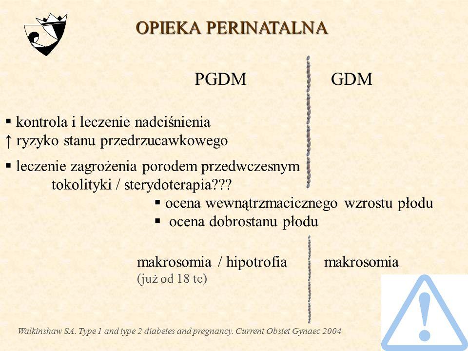 NADZÓR NAD MATKĄ NADZÓR NAD MATKĄ  edukacja: dieta, postępowanie w hipo-, hiperglikemii  samokontrola glikemii  normoglikemia / poziom HbA 1c < 6,5