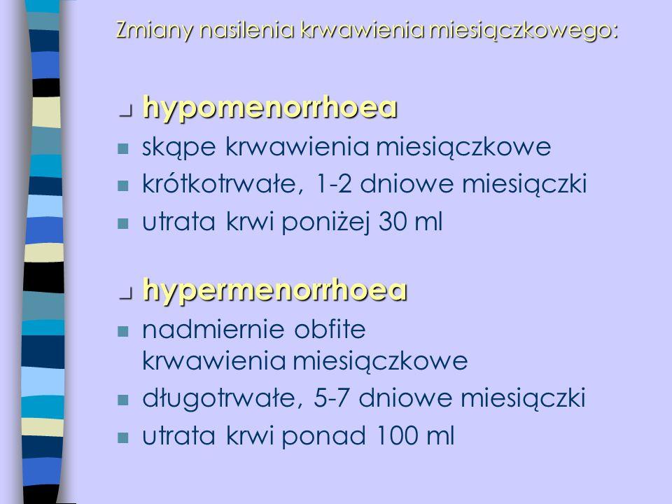 Zmiany nasilenia krwawienia miesiączkowego: n hypomenorrhoea n skąpe krwawienia miesiączkowe n krótkotrwałe, 1-2 dniowe miesiączki n utrata krwi poniż