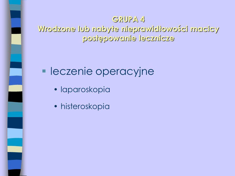 GRUPA 4 Wrodzone lub nabyte nieprawidłowości macicy postępowanie lecznicze  leczenie operacyjne laparoskopia histeroskopia