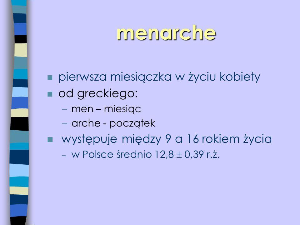menarche n pierwsza miesiączka w życiu kobiety n od greckiego: –men – miesiąc –arche - początek n występuje między 9 a 16 rokiem życia – w Polsce śred