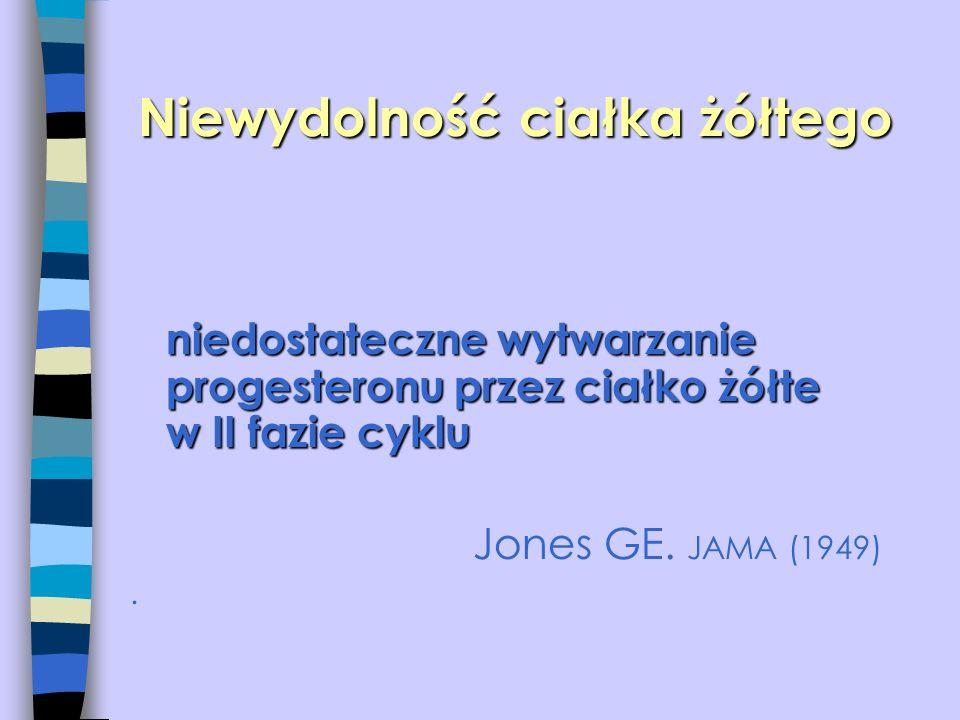 niedostateczne wytwarzanie progesteronu przez ciałko żółte w II fazie cyklu Jones GE. JAMA (1949).