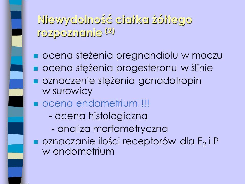n ocena stężenia pregnandiolu w moczu n ocena stężenia progesteronu w ślinie n oznaczenie stężenia gonadotropin w surowicy n ocena endometrium !!! - o