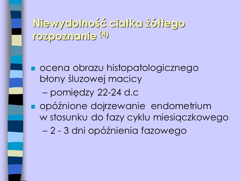 n ocena obrazu histopatologicznego błony śluzowej macicy –pomiędzy 22-24 d.c n opóźnione dojrzewanie endometrium w stosunku do fazy cyklu miesiączkowe