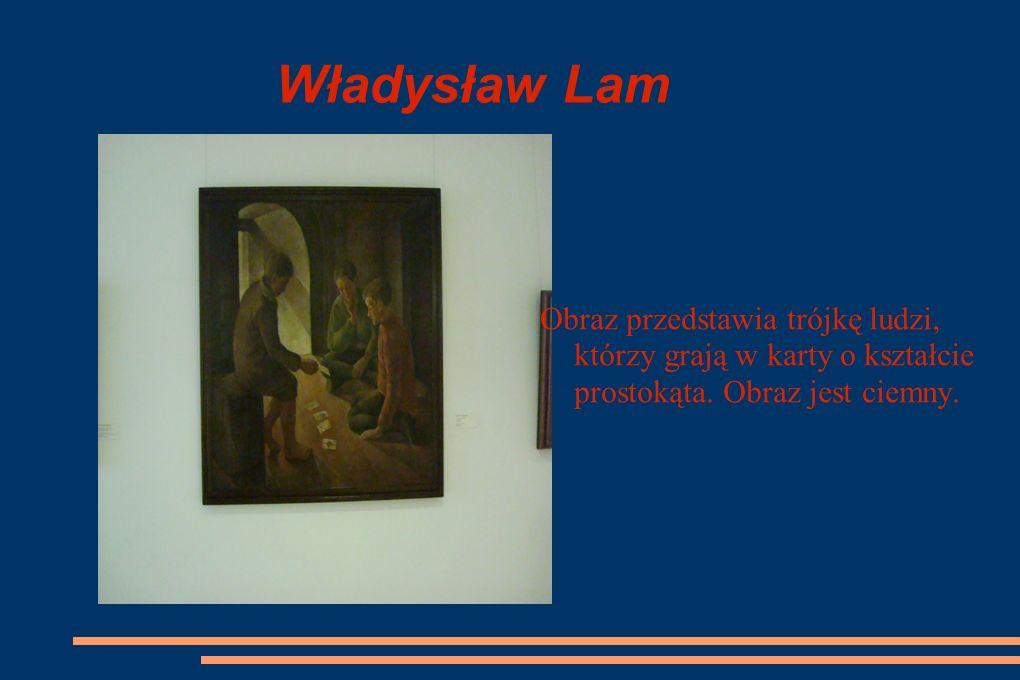 Władysław Lam Obraz przedstawia trójkę ludzi, którzy grają w karty o kształcie prostokąta.