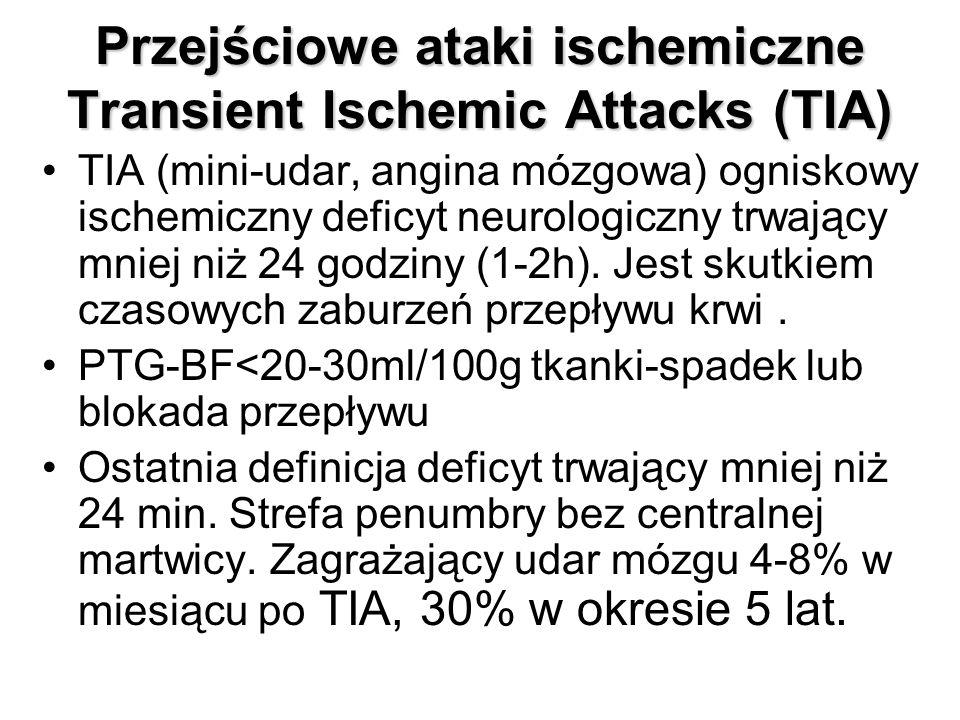 Przejściowe ataki ischemiczne Transient Ischemic Attacks (TIA) TIA (mini-udar, angina mózgowa) ogniskowy ischemiczny deficyt neurologiczny trwający mniej niż 24 godziny (1-2h).