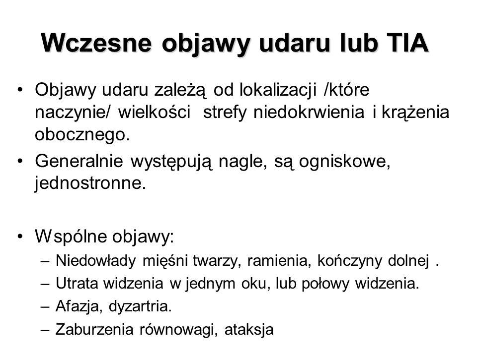 Wczesne objawy udaru lub TIA Objawy udaru zależą od lokalizacji /które naczynie/ wielkości strefy niedokrwienia i krążenia obocznego. Generalnie wystę