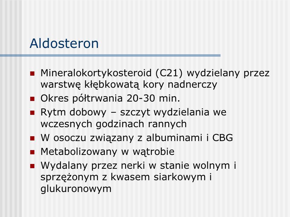 Aldosteron Mineralokortykosteroid (C21) wydzielany przez warstwę kłębkowatą kory nadnerczy Okres półtrwania 20-30 min.