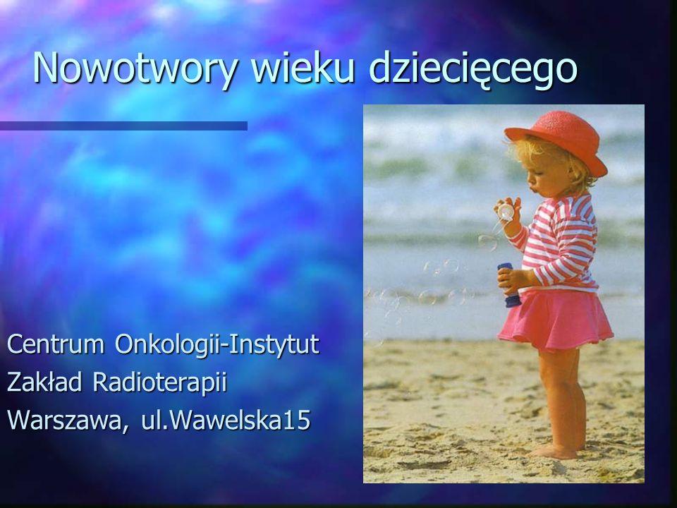 Zarodkowe guzy OUN Hist-pat: Germinoma (rozrodczak) niewydzielający markerów, czasem nieznacznie podwyższenie HCGGerminoma (rozrodczak) niewydzielający markerów, czasem nieznacznie podwyższenie HCG Nongerminoma wydzielające markery AFP i HCGNongerminoma wydzielające markery AFP i HCGLeczenie: ChemioterapiaChemioterapia Zabieg chirurgiczny (w guzach niewydzielających)Zabieg chirurgiczny (w guzach niewydzielających) RadioterapiaRadioterapia Germinoma:Germinoma: Postać zlokalizowana: 25 Gy na układ komorowy+ 15 Gy na ognisko pierwotne w dawkach frakcyjnych 1.6 GyPostać zlokalizowana: 25 Gy na układ komorowy+ 15 Gy na ognisko pierwotne w dawkach frakcyjnych 1.6 Gy Postać uogólniona: 25 Gy na całą oś mózgowo-rdzeniową + 15 Gy na ognisko pierwotnePostać uogólniona: 25 Gy na całą oś mózgowo-rdzeniową + 15 Gy na ognisko pierwotne Nongerminoma:Nongerminoma: Postać zlokalizowana: 54 Gy na ognisko pierwotne w dawkach frakcyjnych 1.8 Gy, układ komorowy?Postać zlokalizowana: 54 Gy na ognisko pierwotne w dawkach frakcyjnych 1.8 Gy, układ komorowy.