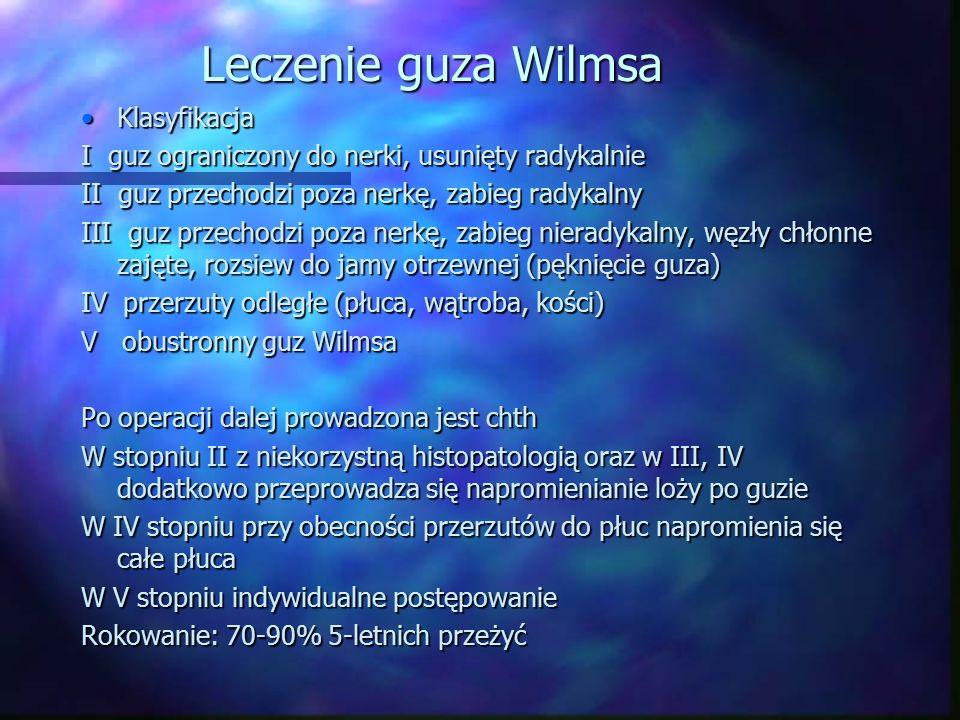Leczenie guza Wilmsa KlasyfikacjaKlasyfikacja I guz ograniczony do nerki, usunięty radykalnie II guz przechodzi poza nerkę, zabieg radykalny III guz p