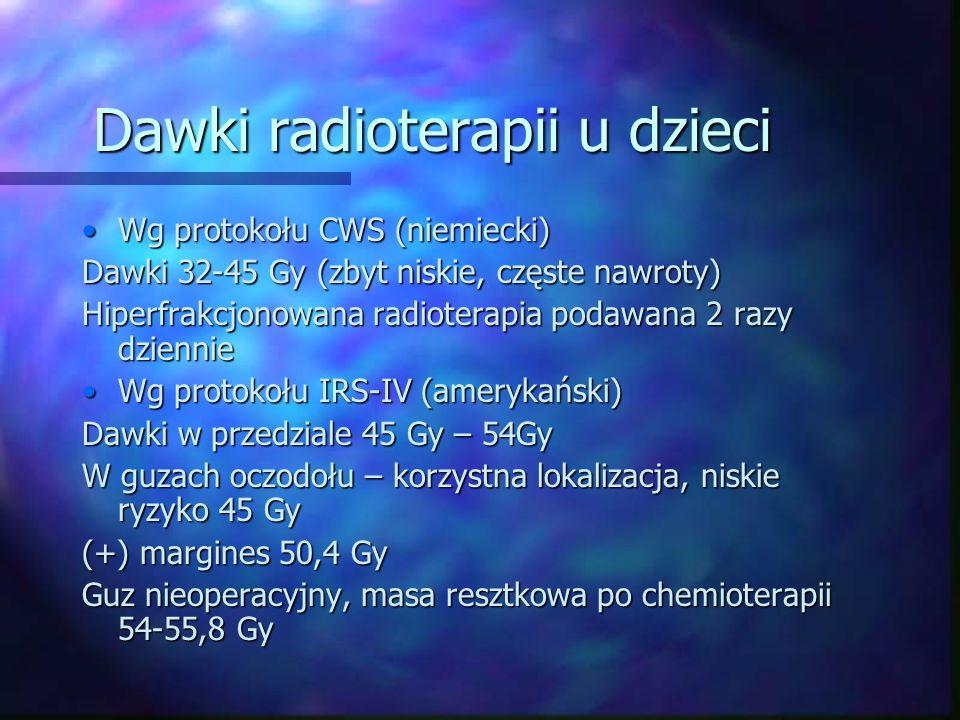 Dawki radioterapii u dzieci Wg protokołu CWS (niemiecki)Wg protokołu CWS (niemiecki) Dawki 32-45 Gy (zbyt niskie, częste nawroty) Hiperfrakcjonowana radioterapia podawana 2 razy dziennie Wg protokołu IRS-IV (amerykański)Wg protokołu IRS-IV (amerykański) Dawki w przedziale 45 Gy – 54Gy W guzach oczodołu – korzystna lokalizacja, niskie ryzyko 45 Gy (+) margines 50,4 Gy Guz nieoperacyjny, masa resztkowa po chemioterapii 54-55,8 Gy