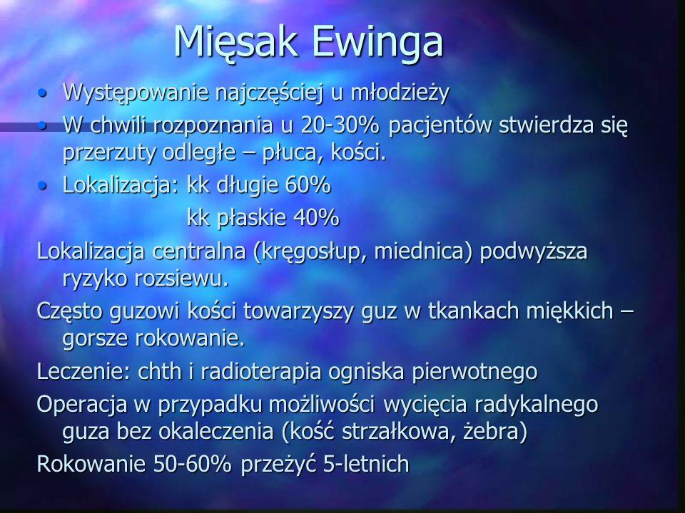 Mięsak Ewinga Występowanie najczęściej u młodzieżyWystępowanie najczęściej u młodzieży W chwili rozpoznania u 20-30% pacjentów stwierdza się przerzuty