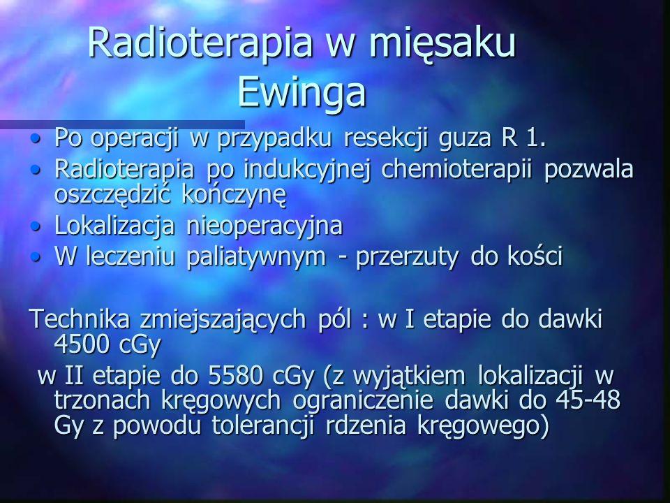 Radioterapia w mięsaku Ewinga Po operacji w przypadku resekcji guza R 1.Po operacji w przypadku resekcji guza R 1.