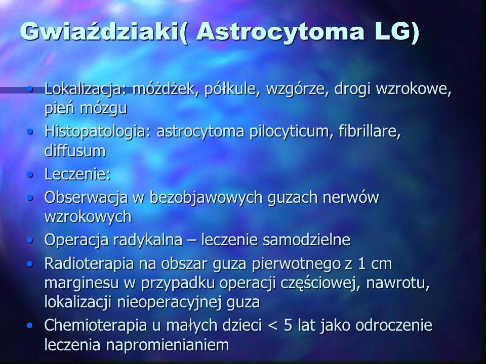 Gwiaździaki( Astrocytoma LG) Lokalizacja: móżdżek, półkule, wzgórze, drogi wzrokowe, pień mózguLokalizacja: móżdżek, półkule, wzgórze, drogi wzrokowe,