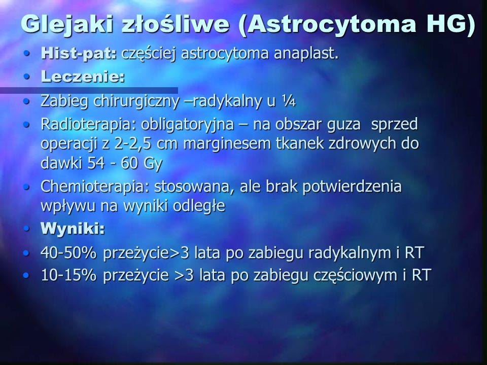Glejaki złośliwe (Astrocytoma HG) Hist-pat: częściej astrocytoma anaplast.Hist-pat: częściej astrocytoma anaplast. Leczenie:Leczenie: Zabieg chirurgic