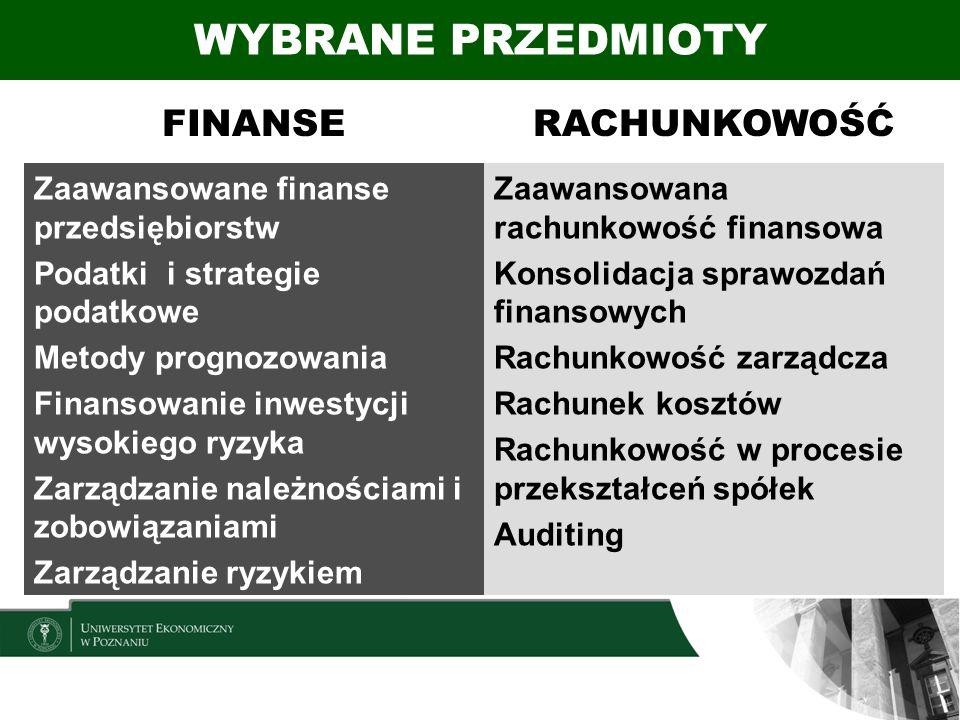 FINANSERACHUNKOWOŚĆ Zaawansowane finanse przedsiębiorstw Podatki i strategie podatkowe Metody prognozowania Finansowanie inwestycji wysokiego ryzyka Z