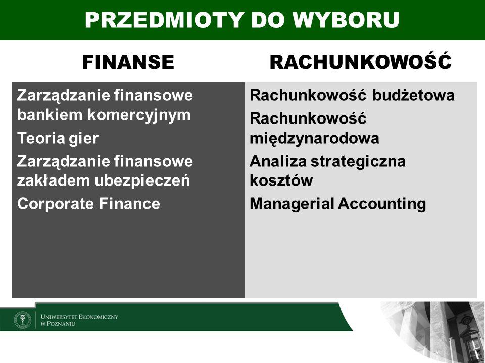 FINANSERACHUNKOWOŚĆ Zarządzanie finansowe bankiem komercyjnym Teoria gier Zarządzanie finansowe zakładem ubezpieczeń Corporate Finance Rachunkowość bu