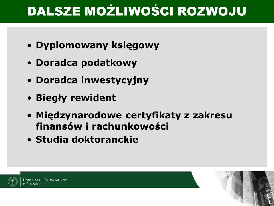 Dyplomowany księgowy Doradca podatkowy Doradca inwestycyjny Biegły rewident Międzynarodowe certyfikaty z zakresu finansów i rachunkowości Studia dokto