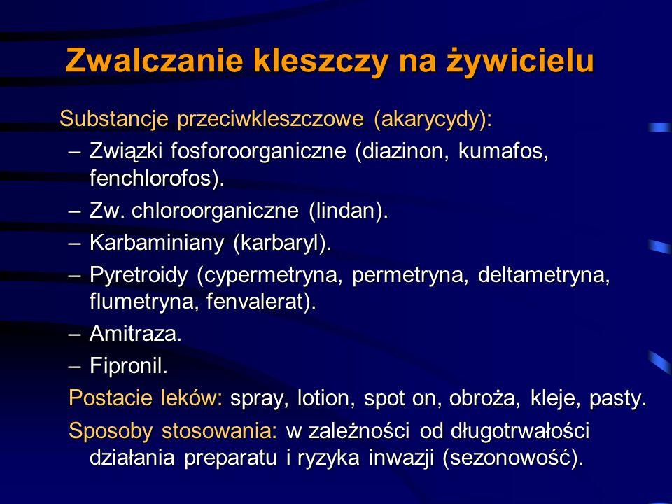 Zwalczanie kleszczy na żywicielu Substancje przeciwkleszczowe (akarycydy): Substancje przeciwkleszczowe (akarycydy): –Związki fosforoorganiczne (diazi