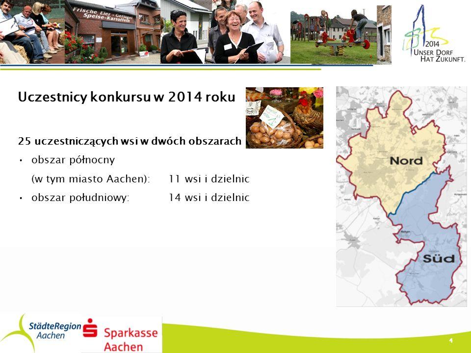 Uczestnicy konkursu w 2014 roku 25 uczestniczących wsi w dwóch obszarach obszar północny (w tym miasto Aachen): 11 wsi i dzielnic obszar południowy: 14 wsi i dzielnic 4