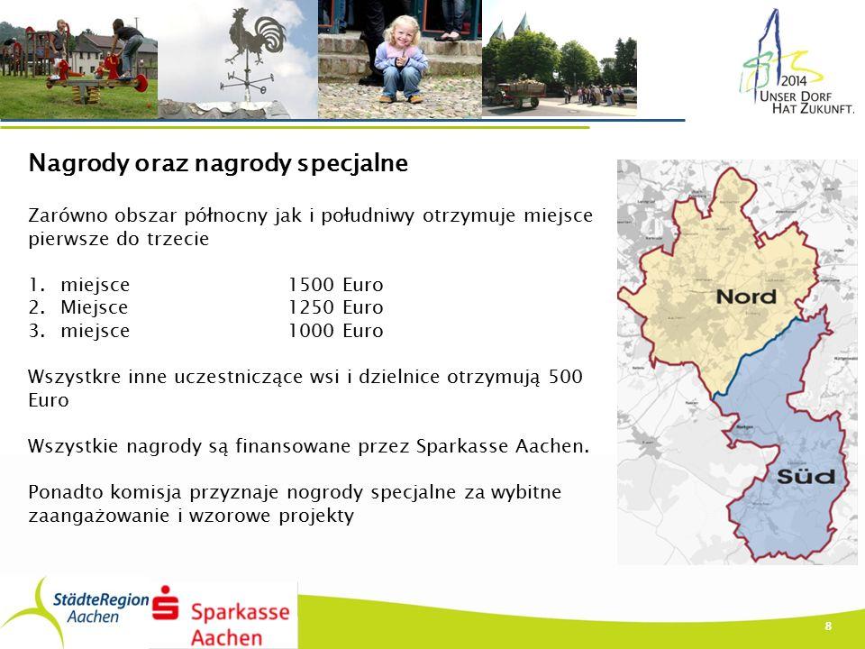 8 Nagrody oraz nagrody specjalne Zarówno obszar północny jak i południwy otrzymuje miejsce pierwsze do trzecie 1.miejsce1500 Euro 2.Miejsce1250 Euro 3.miejsce1000 Euro Wszystkre inne uczestniczące wsi i dzielnice otrzymują 500 Euro Wszystkie nagrody są finansowane przez Sparkasse Aachen.