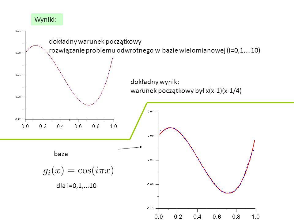 Wyniki: dokładny warunek początkowy rozwiązanie problemu odwrotnego w bazie wielomianowej (i=0,1,...10) dokładny wynik: warunek początkowy był x(x-1)(