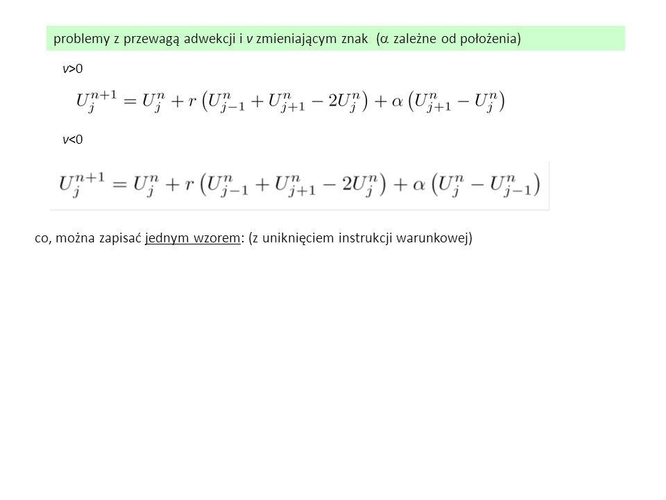 problemy z przewagą adwekcji i v zmieniającym znak (  zależne od położenia) v>0 v<0 co, można zapisać jednym wzorem: (z uniknięciem instrukcji warun