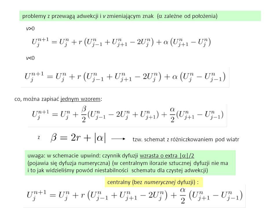 problemy z przewagą adwekcji i v zmieniającym znak (  zależne od położenia) v>0 v<0 co, można zapisać jednym wzorem: z tzw. schemat z różniczkowanie