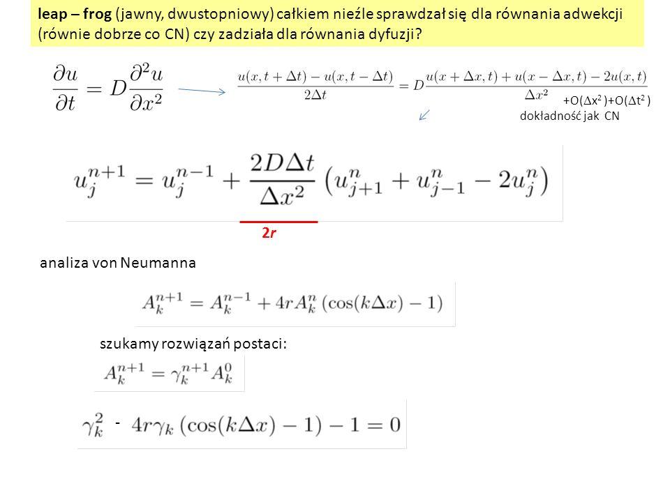 leap – frog (jawny, dwustopniowy) całkiem nieźle sprawdzał się dla równania adwekcji (równie dobrze co CN) czy zadziała dla równania dyfuzji? analiza