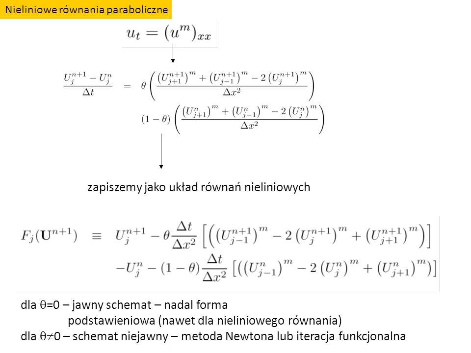 zapiszemy jako układ równań nieliniowych dla  =0 – jawny schemat – nadal forma podstawieniowa (nawet dla nieliniowego równania) dla  0 – schemat ni