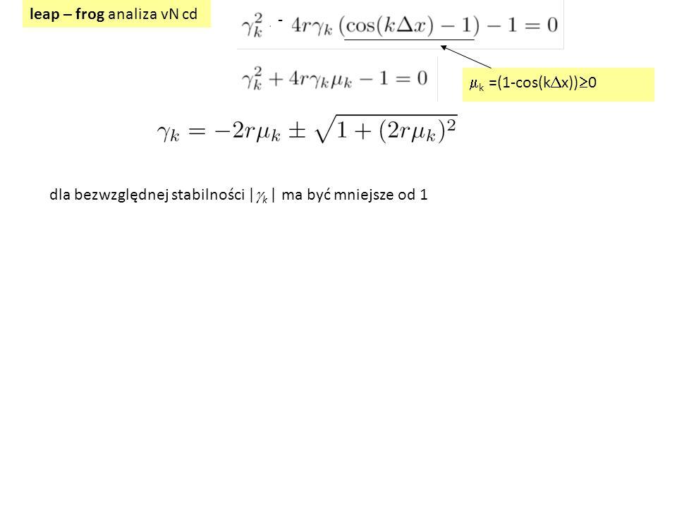 leap – frog analiza vN cd  k =(1-cos(k  x))  0 - dla bezwzględnej stabilności |  k | ma być mniejsze od 1
