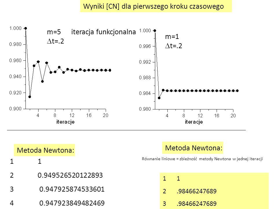 m=5  t=.2 m=1  t=.2 1 2.98466247689 3.98466247689 1 20.949526520122893 3 0.947925874533601 4 0.947923849482469 Metoda Newtona: iteracja funkcjonalna