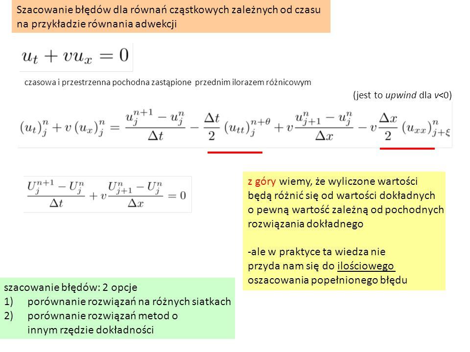 czasowa i przestrzenna pochodna zastąpione przednim ilorazem różnicowym Szacowanie błędów dla równań cząstkowych zależnych od czasu na przykładzie rów
