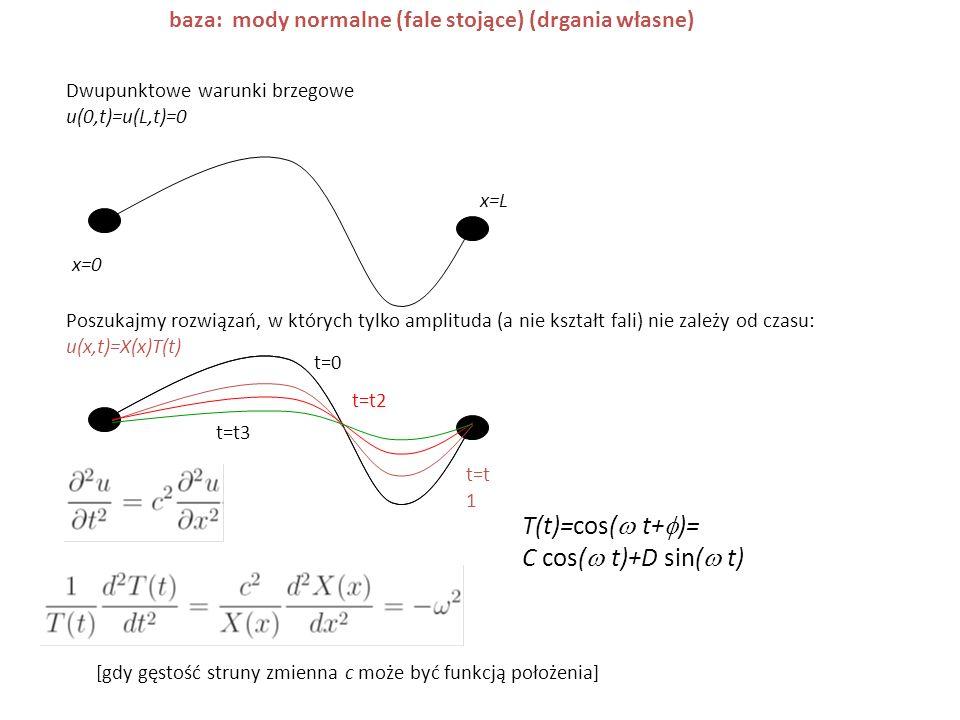 Dwupunktowe warunki brzegowe u(0,t)=u(L,t)=0 Poszukajmy rozwiązań, w których tylko amplituda (a nie kształt fali) nie zależy od czasu: u(x,t)=X(x)T(t)