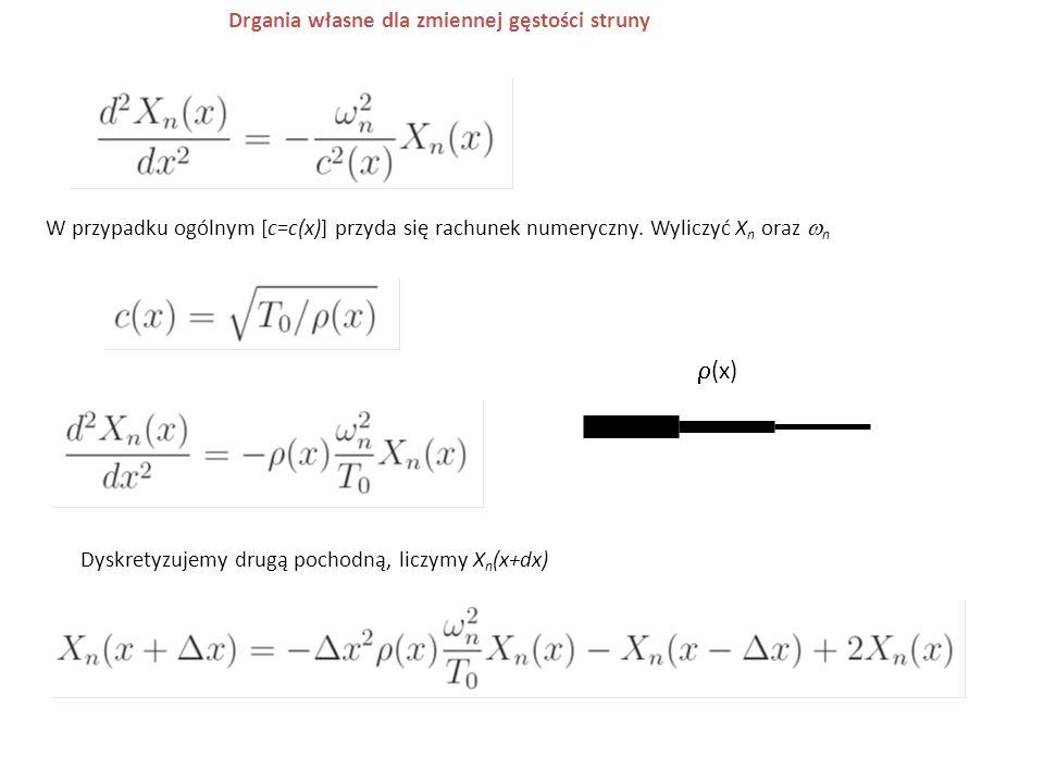 W przypadku ogólnym [c=c(x)] przyda się rachunek numeryczny. Wyliczyć X n oraz  n Drgania własne dla zmiennej gęstości struny Dyskretyzujemy drugą po