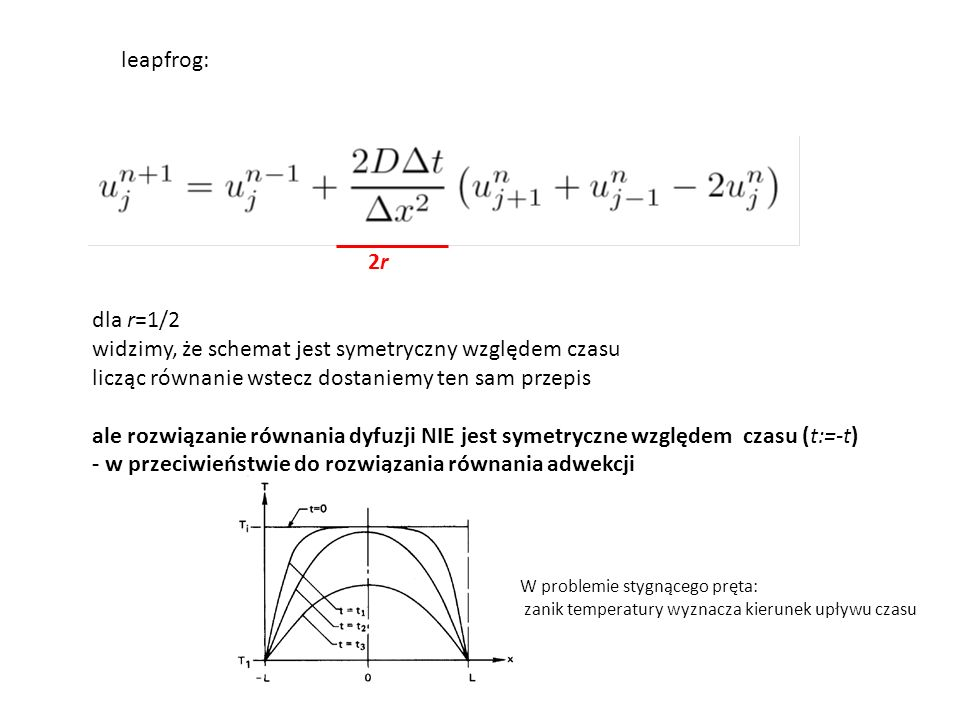 2r2r leapfrog: dla r=1/2 widzimy, że schemat jest symetryczny względem czasu licząc równanie wstecz dostaniemy ten sam przepis ale rozwiązanie równani