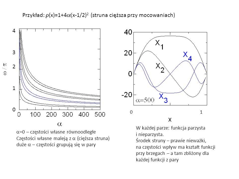 Przykład:  (x)=1+4  x-1/2) 2 (struna cięższa przy mocowaniach)  =0 – częstości własne równoodległe Częstości własne maleją z  (cięższa struna) du
