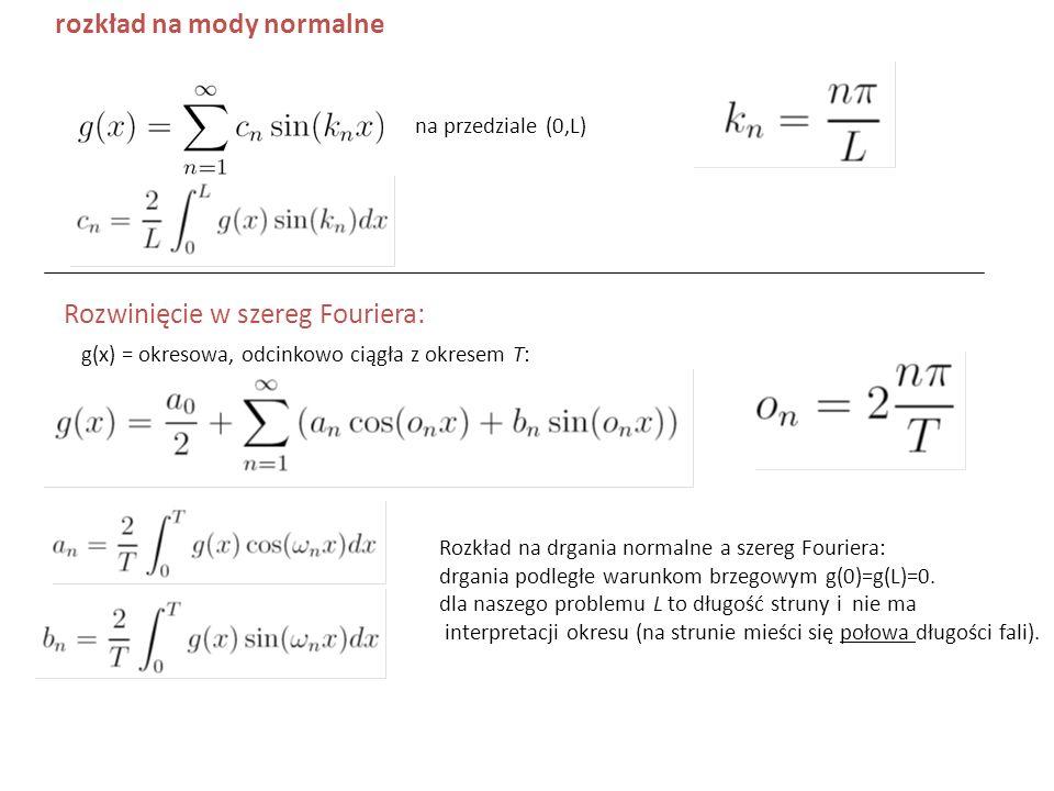 na przedziale (0,L) rozkład na mody normalne Rozwinięcie w szereg Fouriera: g(x) = okresowa, odcinkowo ciągła z okresem T: Rozkład na drgania normalne