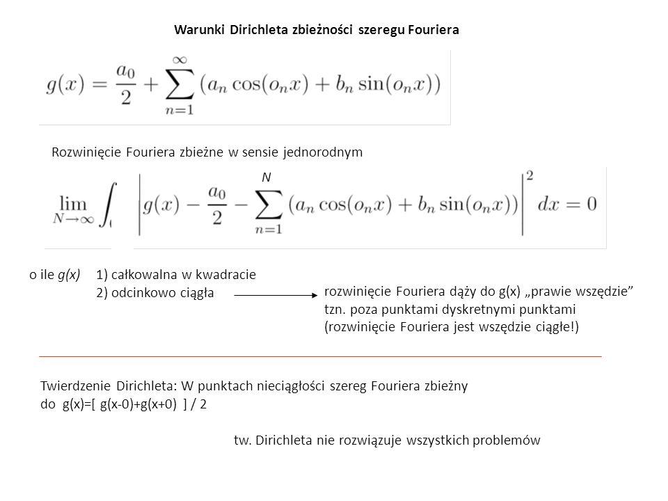 Rozwinięcie Fouriera zbieżne w sensie jednorodnym Warunki Dirichleta zbieżności szeregu Fouriera o ile g(x) 1) całkowalna w kwadracie 2) odcinkowo cią