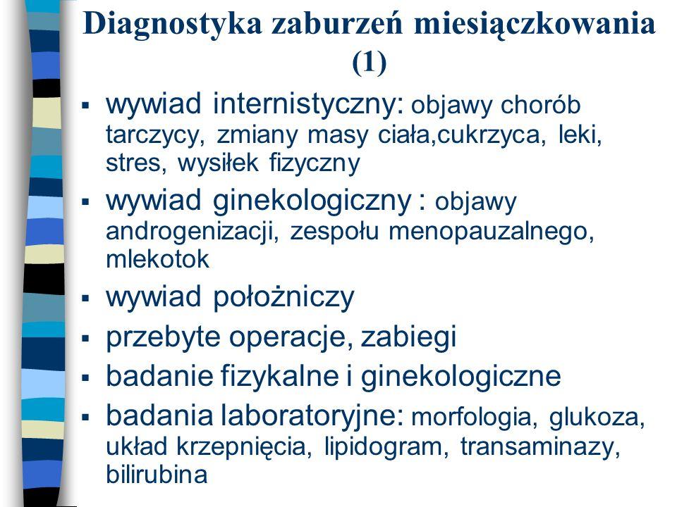 Diagnostyka zaburzeń miesiączkowania (1)  wywiad internistyczny: objawy chorób tarczycy, zmiany masy ciała,cukrzyca, leki, stres, wysiłek fizyczny 
