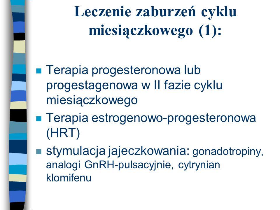 Leczenie zaburzeń cyklu miesiączkowego (1): n Terapia progesteronowa lub progestagenowa w II fazie cyklu miesiączkowego n Terapia estrogenowo-progeste