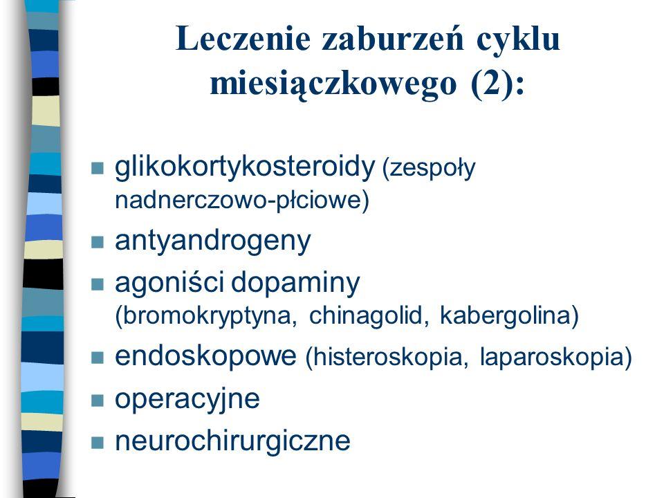 Leczenie zaburzeń cyklu miesiączkowego (2): n glikokortykosteroidy (zespoły nadnerczowo-płciowe) n antyandrogeny n agoniści dopaminy (bromokryptyna, c