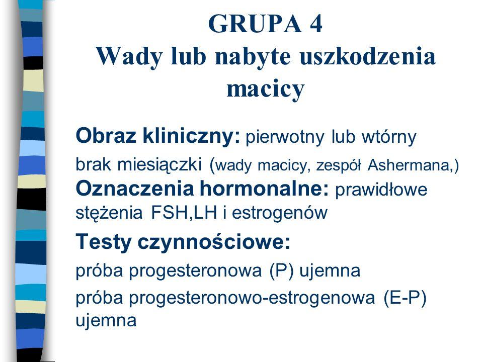 GRUPA 4 Wady lub nabyte uszkodzenia macicy n Obraz kliniczny: pierwotny lub wtórny n brak miesiączki ( wady macicy, zespół Ashermana,) Oznaczenia horm
