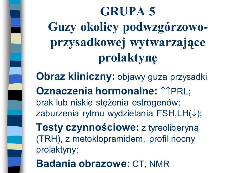 GRUPA 5 Guzy okolicy podwzgórzowo- przysadkowej wytwarzające prolaktynę n Obraz kliniczny: objawy guza przysadki n Oznaczenia hormonalne:  PRL; brak